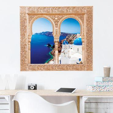 Trompe l'oeil adesivi murali - Finestra su Santorini