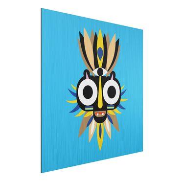 Stampa su alluminio spazzolato - Collage Mask Ethnic - Big Eyes - Quadrato 1:1