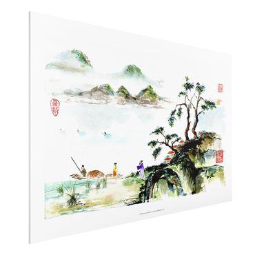 Stampa su Forex - Giapponese Acquerello Lago Disegno E Montagne - Orizzontale 2:3
