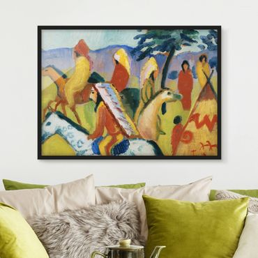 Poster con cornice - August Macke - Riding Indians Next To The Tent - Orizzontale 3:4