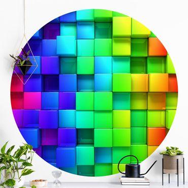 Carta da parati rotonda autoadesiva - cubi 3D