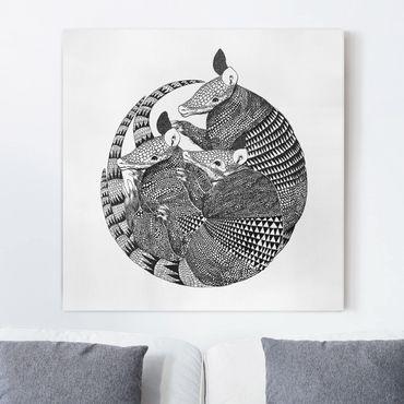 Quadri su tela - Illustrazione del modello Armadillos Bianco e Nero