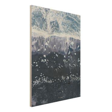 Quadro in legno - Veduta aerea - Jökulsárlón in Islanda - Verticale 3:4