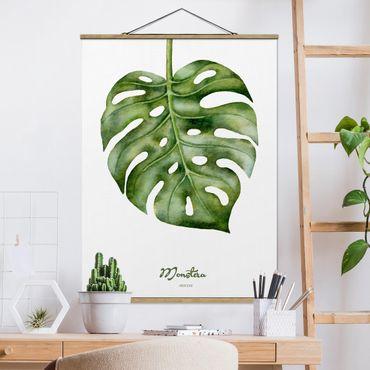 Foto su tessuto da parete con bastone - Acquerello Botanica Monstera - Verticale 4:3