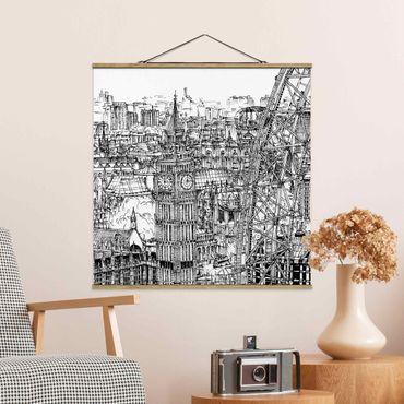 Foto su tessuto da parete con bastone - Città Studi - London Eye - Quadrato 1:1