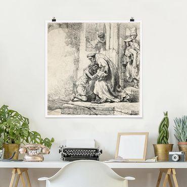 Poster - Rembrandt van Rijn - Il ritorno del figliol - Quadrato 1:1