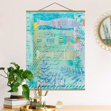 Foto su tessuto da parete con bastone - Colorato collage - Pesci E Punti - Verticale 4:3