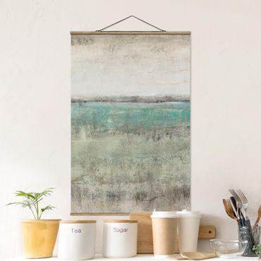Foto su tessuto da parete con bastone - Orizzonte Turchese I - Verticale 3:2