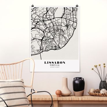 Poster - Mappa Lisbona - Classic - Verticale 4:3