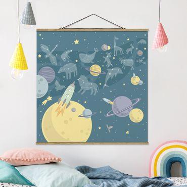 Foto su tessuto da parete con bastone - Pianeti con Zodiac e missili - Quadrato 1:1