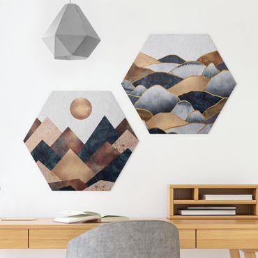 Esagono in Alu-dibond - Elisabeth Fredriksson - Geometrico & Oro Monti Acquerello