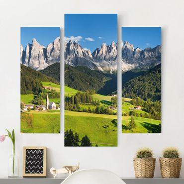 Stampa su tela 3 parti - Odle In South Tyrol - Trittico da galleria