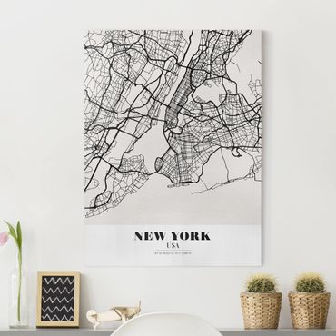 Stampa su tela - New York City Map - Classic - Verticale 3:4