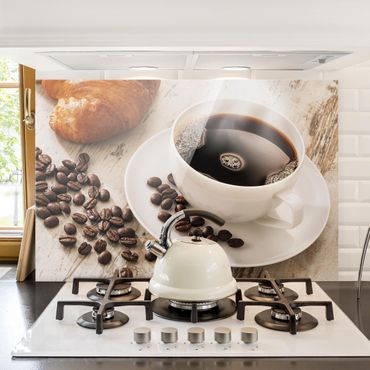 Paraschizzi in vetro - Steaming Coffee Cup With Coffee Beans