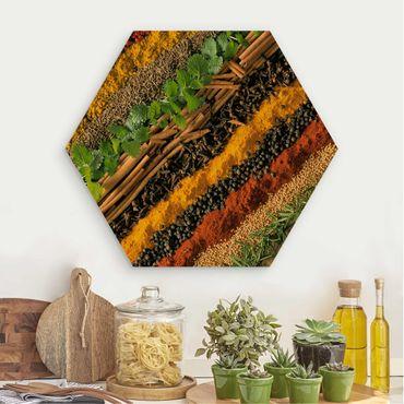 Esagono in legno - strisce Spice