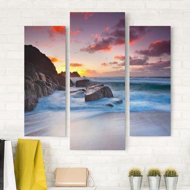 Stampa su tela 3 parti - By The Sea In Cornwall - Trittico da galleria