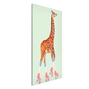 Lavagna magnetica - Giraffa con Pattini a rotelle - Formato verticale 4:3