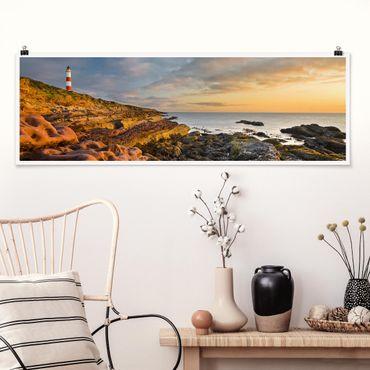 Poster - Tarbat Ness Faro E Tramonto Sul Mare - Panorama formato orizzontale