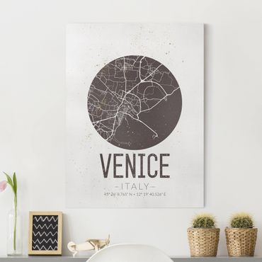 Stampa su tela - Venice City Map - Retro - Verticale 3:4