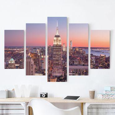 Stampa su tela - Sunset Manhattan New York City - 5 parti