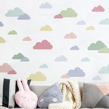 Tatuaggio murale multicolore - 40 Nuvole Set Pastello