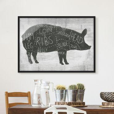 Poster con cornice - Butcher Board - Pig - Orizzontale 3:4