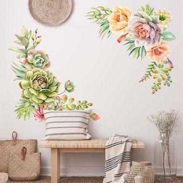 Adesivo murale - Acquerello Succulente ornamento XXL
