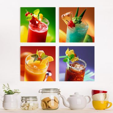 Stampa su tela 4 parti - colorful cocktails