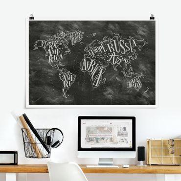 Poster - Chalk Mappa del mondo - Orizzontale 2:3
