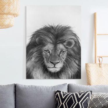 Quadri su tela - Illustrazione del Leone Monochrome Pittura