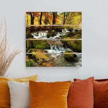 Stampa su legno - Cascata bosco autunnale - Quadrato 1:1