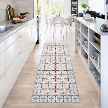 Tappeti in vinile - Piastrelle marocchine petali con cornice di mattonelle - Pannello