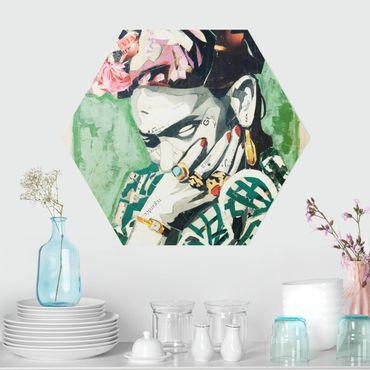 Esagono in Alu-dibond - Frida Kahlo - Collage No.3