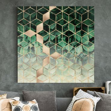 Quadri su tela - Verde Foglie d'oro Geometria