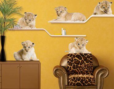 Adesivo murale no.647 Lion Babies Set