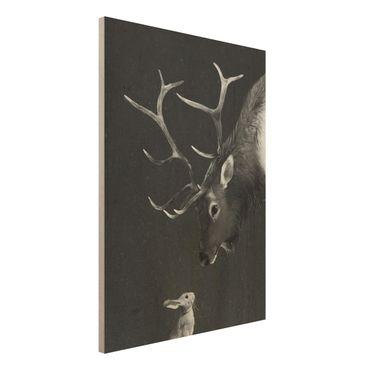 Stampa su legno - Illustrazione Cervi E coniglio pittura Bianco e nero - Verticale 4:3