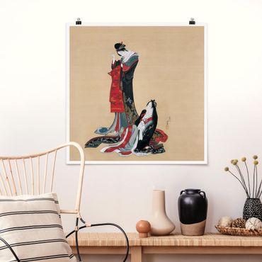 Poster - Katsushika Hokusai - Due Courtesans - Quadrato 1:1