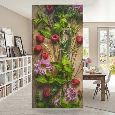 Tenda a pannello Flowers raspberry mint 250x120cm