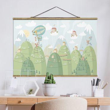 Foto su tessuto da parete con bastone - Foresta con case e animali - Orizzontale 2:3