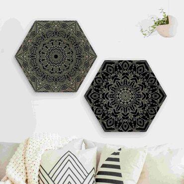 Esagono in legno - Mandala Fiore modello di stella nera