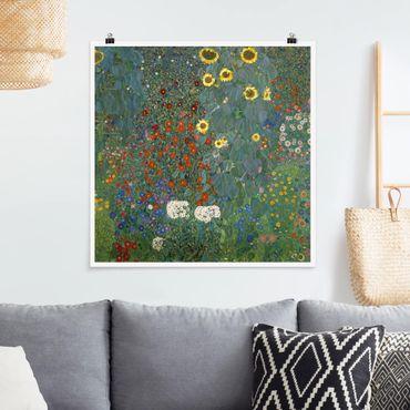 Poster - Gustav Klimt - Giardino Girasoli - Quadrato 1:1