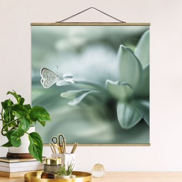 Foto su tessuto da parete con bastone - Farfalla E le gocce di rugiada In Pastel Verde - Quadrato 1:1