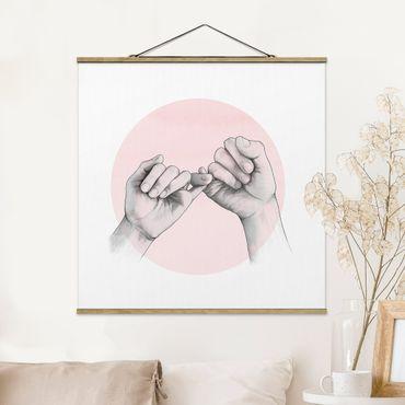 Foto su tessuto da parete con bastone - Laura Graves - Illustrazione mani Amicizia Circle Rosa Bianco - Quadrato 1:1