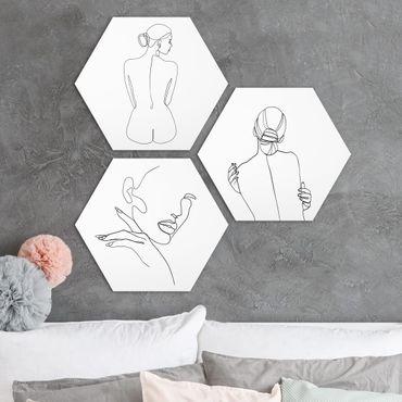 Esagono in forex - Legge Line Art Donne e nero Set Bianco