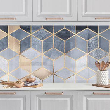 Rivestimenti cucina - Bianco d'oro Geometria Blu