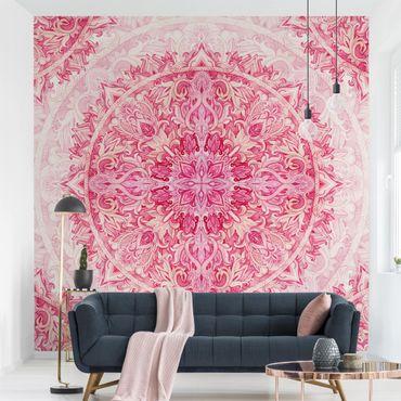 Carta da parati - Mandala Acquerello ornamento pink- Formato quadrato