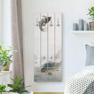 Appendiabiti in legno - Vintage illustrazione Asiatici pesce III - Ganci cromati - Verticale