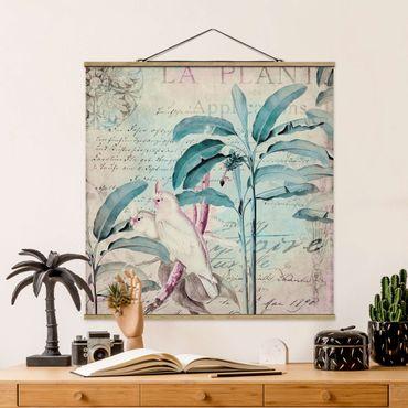 Foto su tessuto da parete con bastone - Coloniale Collage - cacatua e Palme - Quadrato 1:1