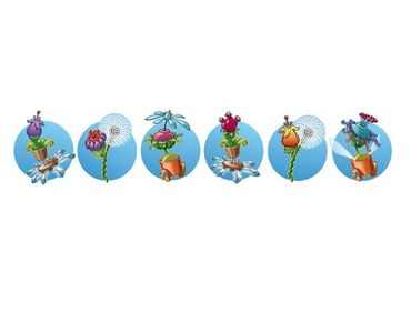 Adesivo murale bordura Flying Farm Flower-Ribbon In Blue