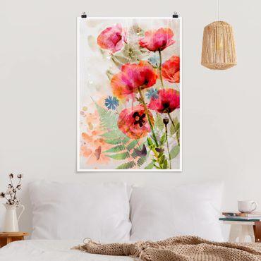 Poster - fiori di papavero acquerello - Verticale 3:2